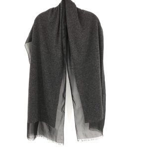 Accessories - Cashmere Blend Scarf Shall Wrap Gray Black